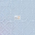 Butterfly Diamond Scalloped Sequin Fabric White