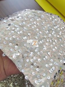 Double Rain Drop Sequins Taffeta Fabric Close Up