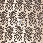 Divine Floral Sequins Mesh Fabric Black