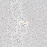 Divine Floral Sequins Mesh Fabric White