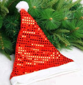 Sequin Spandex Fabric Christmas Santa Claus Hat