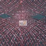 Unique Diamond Lace Sequin Dress Fabric Burgundy