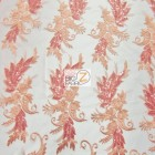 Angel Wings Floral Lace Sequins Fabric Coral