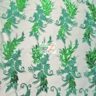 Angel Wings Floral Lace Sequins Fabric Green