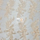 Angel Wings Floral Lace Sequins Fabric Peach