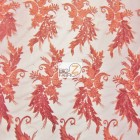 Angel Wings Floral Lace Sequins Fabric Red