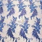 Angel Wings Floral Lace Sequins Fabric Royal