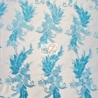 Angel Wings Floral Lace Sequins Fabric Turquoise
