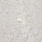 Angel Wings Floral Lace Sequins Fabric White