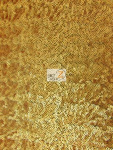 Mini Disc Sequin Nylon Mesh Fabric Brush Gold