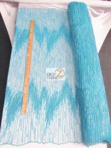 Frozen Premiere Zig Zag Sequins Fabric Turquoise