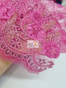 Stunning Dahlia Floral Sequins Lace Fabric Close Up