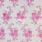 Stunning Dahlia Floral Sequins Lace Fabric Fuchsia