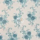 Stunning Dahlia Floral Sequins Lace Fabric Teal