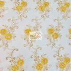 Stunning Dahlia Floral Sequins Lace Fabric Yellow