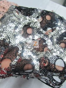 Circular Bombshell Sequins Lace Fabric Close Up