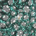 Circular Bombshell Sequins Lace Fabric Green