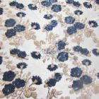 Lovely Roses Floral Sequins Lace Fabric Navy