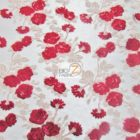 Lovely Roses Floral Sequins Lace Fabric Red