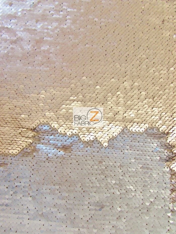 Matte Khaki/Matte Silver Reversible Mermaid Sequins Fabric