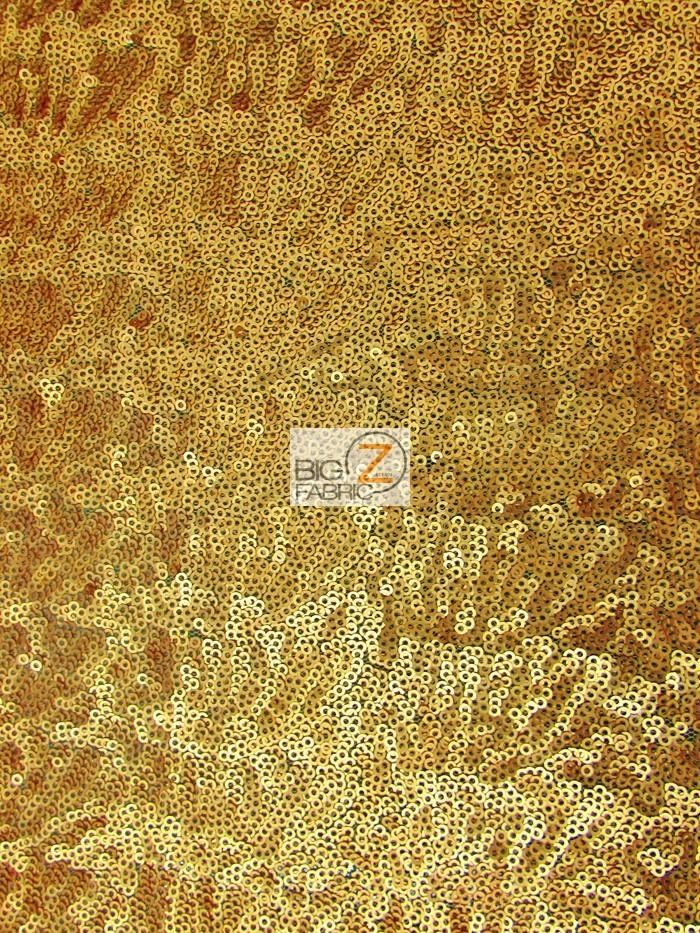 Brush Gold Mini Disc Sequin Nylon Mesh Fabric