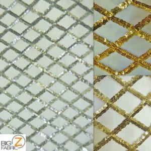 Diamond Lattice Sequins Mesh Fabric
