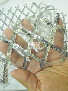 Diamond Lattice Sequins Mesh Fabric Close Up