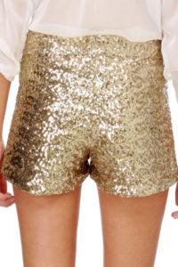 Haute Gold Sequins Mini Shorts