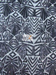 Geometric Mayan Sequins Fabric Black