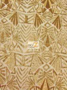 Geometric Mayan Sequins Fabric Gold