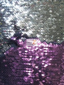 Reversible Mermaid Sequins Fabric Plum/Silver