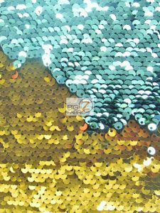 Aqua/Gold Reversible Mermaid Sequins Fabric