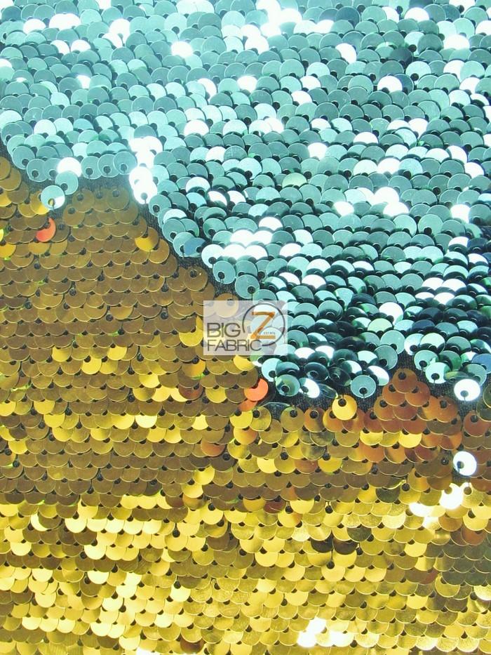 Aqua/Gold Reversible Mermaid Sequins Fabric