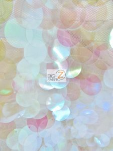 Big Dot Sequin Hologram Mesh Fabric Lilac On White Mesh