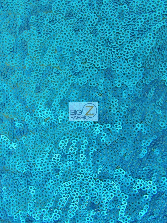 Brush Turquoise Mini Disc Sequin Nylon Mesh Fabric