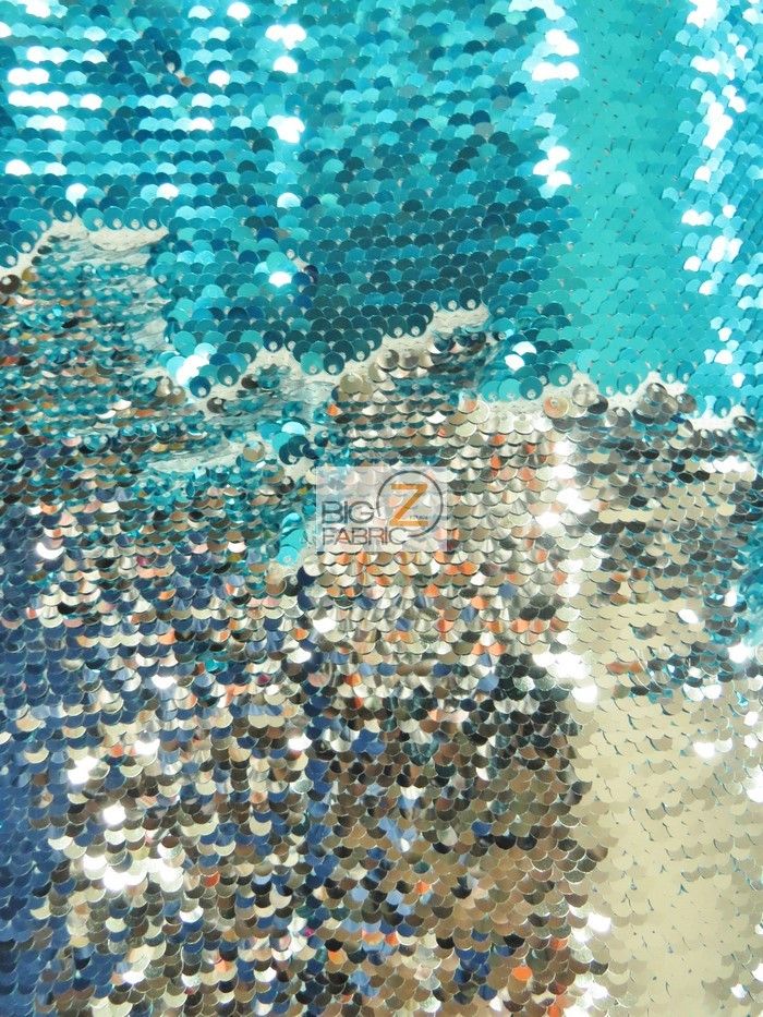 Aqua/Shiny Silver Reversible Mermaid Sequins Fabric
