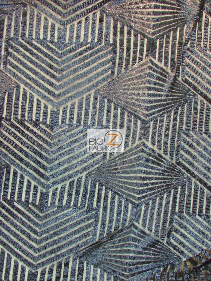Navy Cosmic Geometric Sequins Fabric