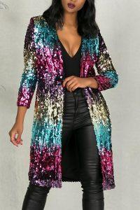 Long Sleeves Sequined Long Coat