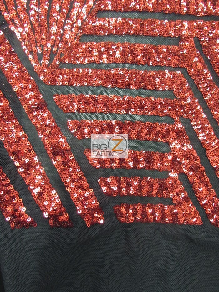 Red/Black Cosmic Geometric Sequins Fabric