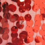 Big 3/8″ Sequins Rain Drop Mesh Fabric Red