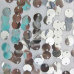 Big 3/8″ Sequins Rain Drop Mesh Fabric Silver