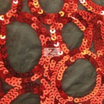 Circle Sequins Nylon Spandex Fabric Red
