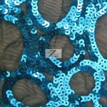 Circle Sequins Nylon Spandex Fabric Turquoise