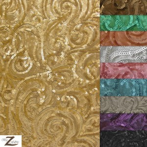 Curly Sequins Mesh Fabric