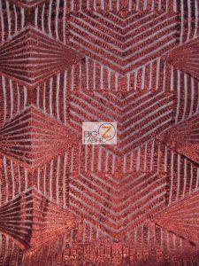 Cosmic Mini Disc Sequins Mesh Fabric Burgundy
