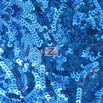 Curly Sequin Mesh Fabric Royal
