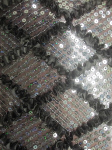 Diamond Ruffle Satin Sequin Fabric Black