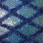 Diamond Ruffle Satin Sequin Fabric Blue
