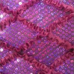 Diamond Ruffle Satin Sequin Fabric Fuchsia