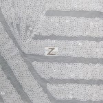 Cosmic Mini Disc Sequins Mesh Fabric White